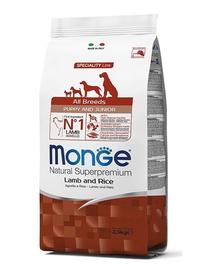 MONGE Puppy hrană uscată pentru cățeluși, cu miel și orez 800 g