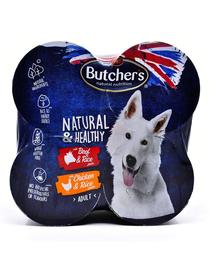 BUTCHER'S Dog Natural&Healthy carne de vită și pui 4 x 390 g
