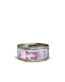 MONGE Delicate Cat hrană umedă pentru pisici, cu pui și suncă 80 g