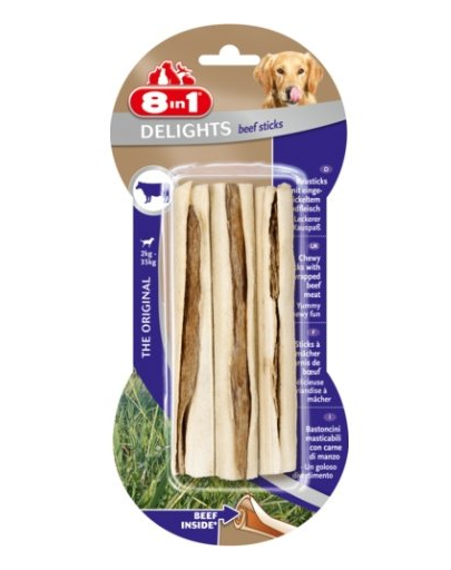 8in1 Recompensă Beef Delights Bone sticks 3 buc imagine