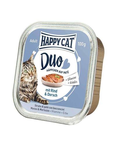 HAPPY CAT Duo pate vită și cod 100 g imagine