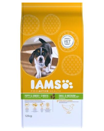 IAMS ProActive Health Puppy & Junior Small & Medium Breed Chicken 12 kg imagine