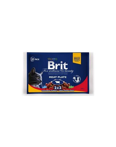 BRIT Pachet Cat Adult meat plate 4x100 g imagine