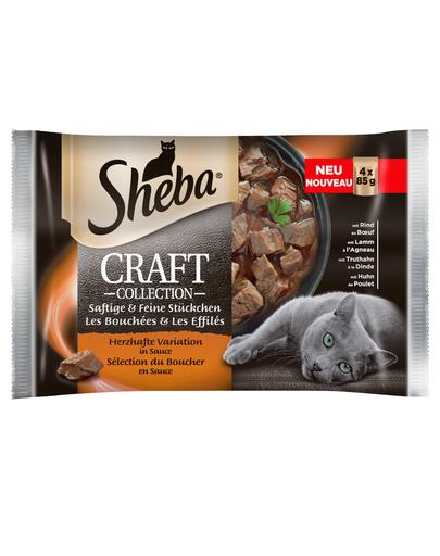 SHEBA Craft Collection Varietate de Carne în Sos 85 g 4 + 4 GRATIS x7