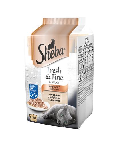 SHEBA Fresh & Fine in sauce 72 x 50g cu păsări de curte, curcan și somon imagine