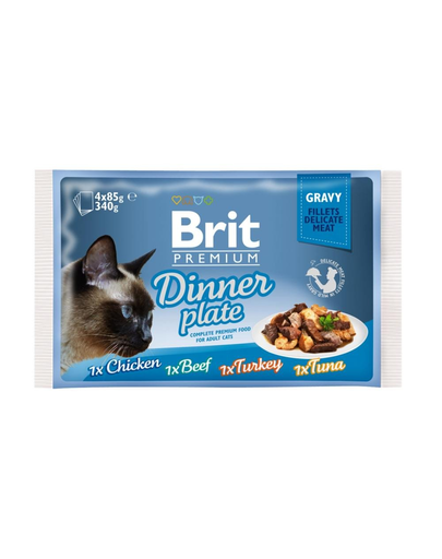 BRIT Premium Cat Dinner Plate file în sos - diverse arome 340 g (4x85 g) imagine