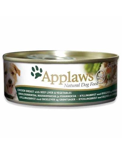 APPLAWS Hrană umedă cu pui, ficat de vită și legume 156 g imagine
