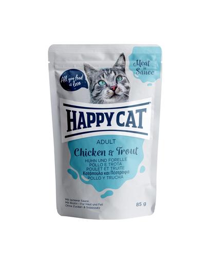 HAPPY CAT Meat in sauce Adult, pui și păstrăv 85 gr imagine