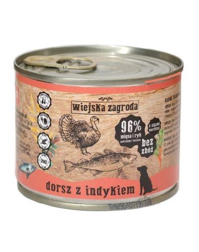 WIEJSKA ZAGRODA hrană umedă fără cereale, cod și curcan 200 gr imagine
