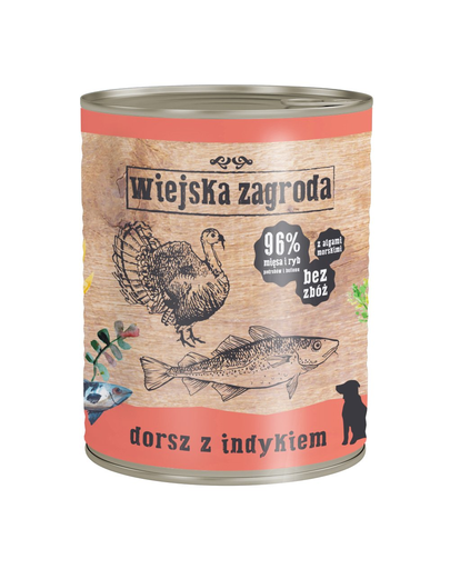 WIEJSKA ZAGRODA hrană umedă fără cereale, cod și curcan 800 gr imagine