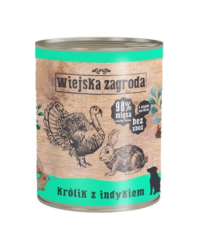 WIEJSKA ZAGRODA hrană umedă fără cereale, iepure și curcan 800 gr imagine