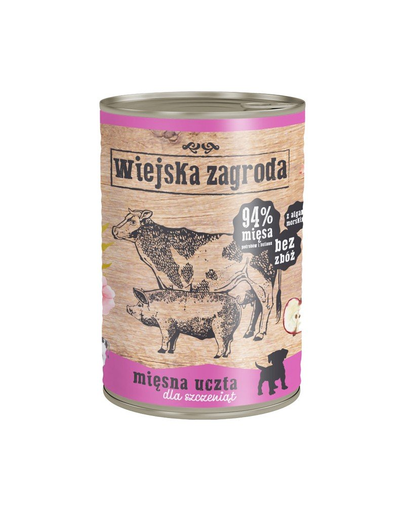 WIEJSKA ZAGRODA Junior hrană umedă fără cereale, mix carne 800 gr imagine