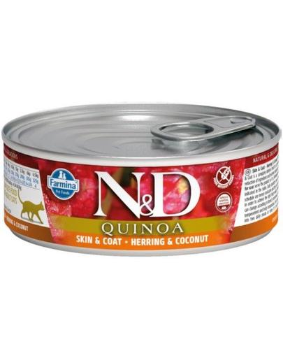 FARMINA N&D Cat Quinoa Skin&Coat cu hering și cocos 80 g imagine