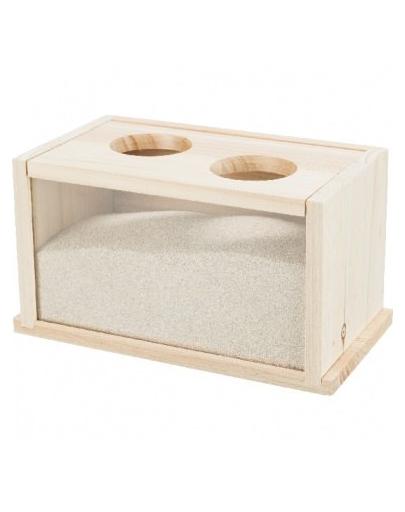 TRIXIE Bazin baie de nisip, șoarece/hamster, lemn, 20 × 12 × 12 cm