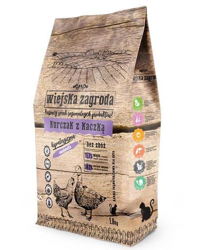 WIEJSKA ZAGRODA Hrană uscată pentru pisici, pui și rață 1.6 kg imagine