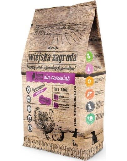 WIEJSKA ZAGRODA Hrană uscată pentru pui și câini tineri, curcan și mere 2 kg imagine