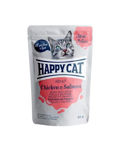 HAPPY CAT Meat in sauce Adult, pui și somon 85 gr imagine