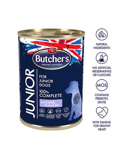 BUTCHER Functional Dog Junior bucăți de miel în aspic 400 gr