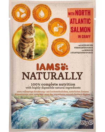 IIAMS Naturally Senior Cat - Hrană umedă pentru pisici - somon din Atlanticul de Nord - 85 g imagine