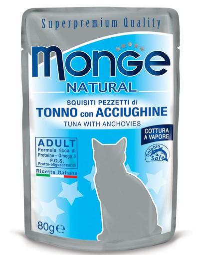 MONGE hrană umedă pentru pisici, cu ton și anșoa în jeleu 80 g imagine