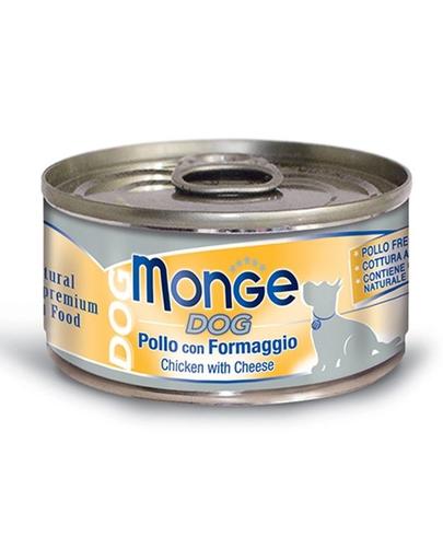 MONGE Natural Dog hrană umedă pentru câini, cu pui și brânză 95g imagine