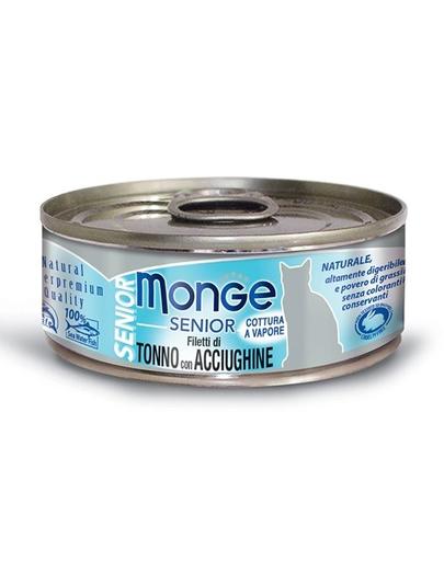 Monge Cat Senior Hrană Umedă Pentru Pisici Senioare, Cu Ton Și Anșoa 80g imagine