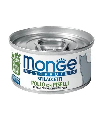 MONGE Cat Monoprotein hrană umedă pentru pisici, cu pui și mazăre 80g imagine