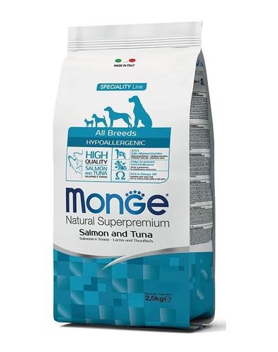 MONGE Hypoallergenic Dog hrană uscată pentru câini, cu somon și ton 2,5 kg imagine