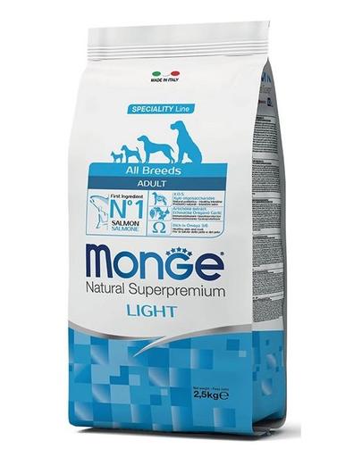 MONGE Light hrană uscată pentru câini, cu somon și orez 2,5 kg imagine