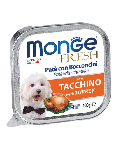 MONGE Fresh hrană umedă pentru câini sub formă de pate, curcan 100 g imagine