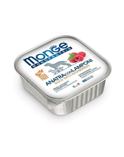 MONGE Fruit Dog Monoprotein hrană umedă pentru câini, cu rață și zmeură 150 g imagine