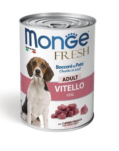 MONGE Fresh Dog hrană umedă pentru câini, cu vițel 400g imagine