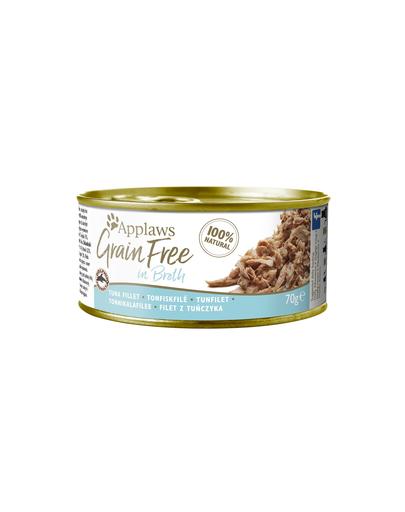 APPLAWS Cat Tin Grain Free – Hrană umedă pentru pisici – ton în bulion – 70g