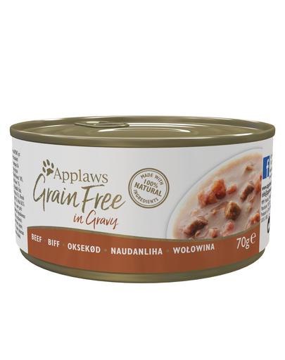 APPLAWS Cat Tin Grain Free - Hrană umedă pentru pisici - vită în sos - 70g imagine