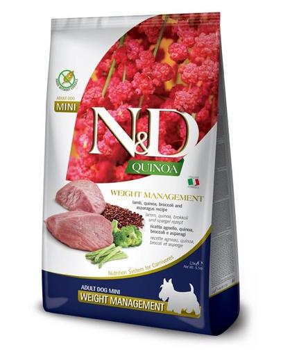 FARMINA N&D Quinoa Weight Management - Hrană dietetică pentru câini adulți - talie mică - gestionarea greutății - cu miel - 2.5 kg imagine