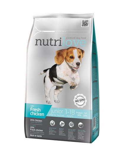 NUTRILOVE Premium cu pui proaspăt pentru câinii juniori de rase mici & mijlocii - 1,6 kg imagine