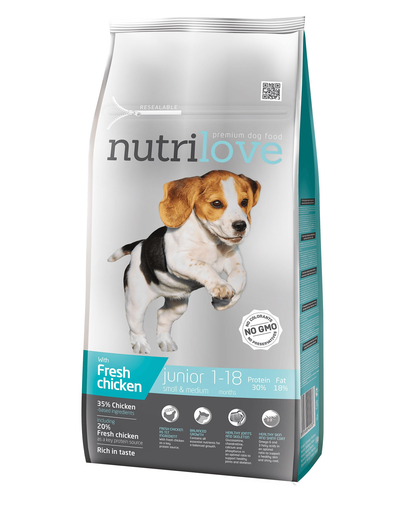 NUTRILOVE Premium cu pui proaspăt pentru câinele junior de rasă mică & mijlocie - de 8 kg imagine