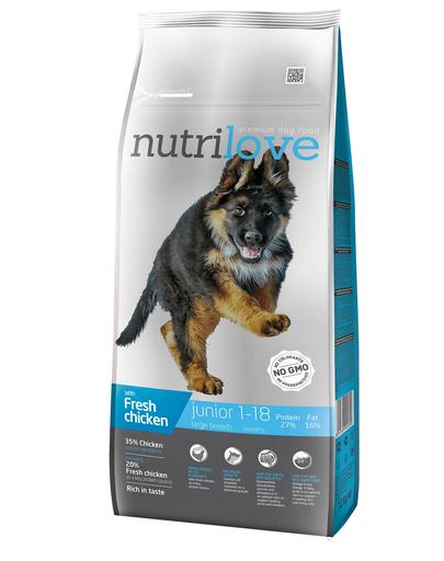 NUTRILOVE Premium cu pui proaspăt pentru câini juniori de talie mare - 12 kg imagine