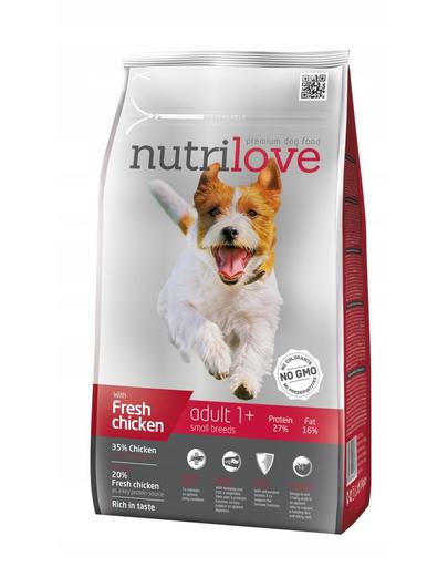 NUTRILOVE Premium cu pui proaspăt pentru adulți de talie mică - 8 kg imagine