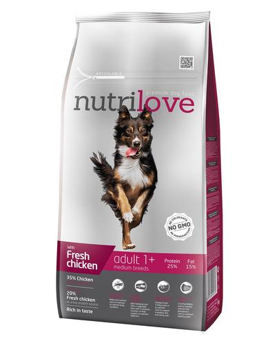 NUTRILOVE Premium cu pui proaspăt pentru câinele adult de talie mediet - 8 kg imagine