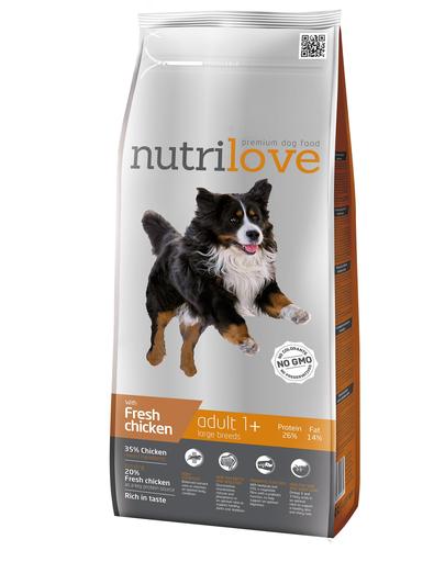 NUTRILOVE Premium cu pui proaspăt pentru câinele adult de talie mare - 3 kg imagine
