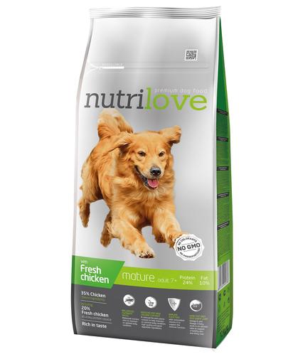 NUTRILOVE Premium pentru câini adulți +7 , cu pui proaspăt - 12 kg imagine