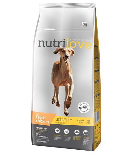 NUTRILOVE Premium cu pui proaspăt pentru câini activi - 12 kg imagine
