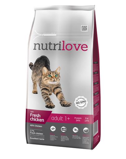 NUTRILOVE Premium cu pui proaspăt, pentru pisici adulte - 8 kg imagine
