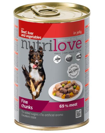 NUTRILOVE Premium bucăți cu carne de vită, ficat și legume în jeleu pentru câini 415g imagine