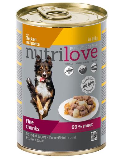 NUTRILOVE Premium bucăți cu pui și tăiței în jeleu pentru câini 415g imagine