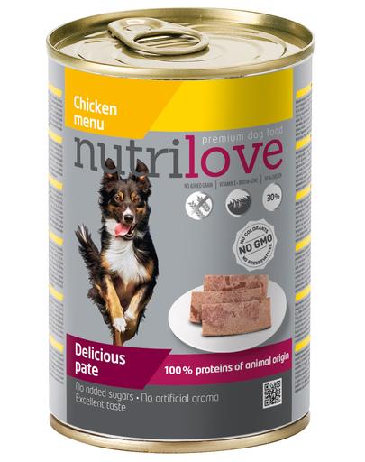 NUTRILOVE Premium hrană umedă sub formă de pate pentru câini, cu pui 400g imagine