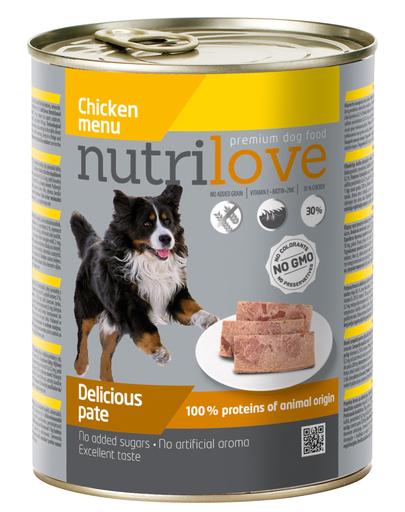 NUTRILOVE Premium pate de pui pentru câini 800g imagine