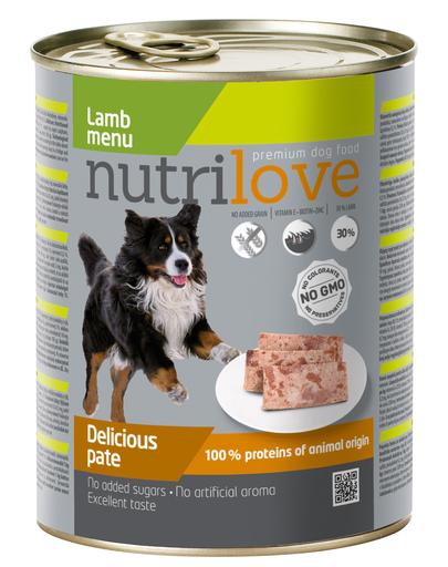 NUTRILOVE Pate de miel premium pentru câini 800g imagine