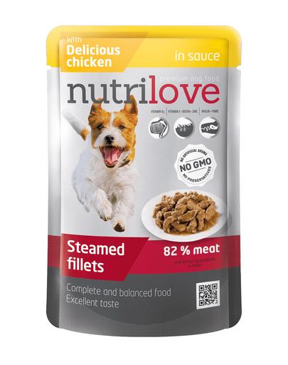 NUTRILOVE Bucăți de carne premium în sos cu pui pentru câini 85g imagine